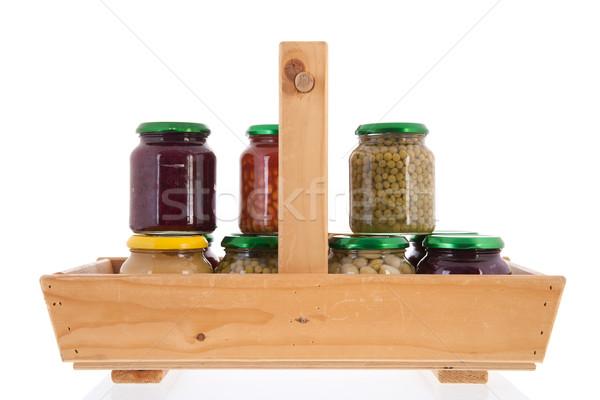 Fából készült kosár megőrzött zöldségek tele üveg Stock fotó © ivonnewierink