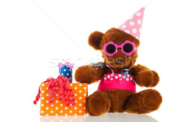 Engraçado recheado tenha presentes colorido aniversário Foto stock © ivonnewierink