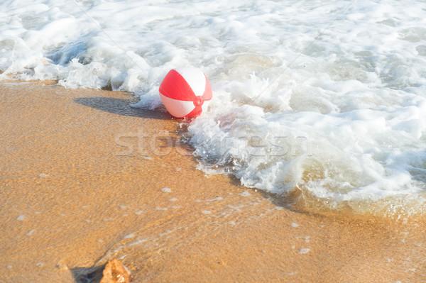 Strandbal zee Rood witte spelen surfen Stockfoto © ivonnewierink