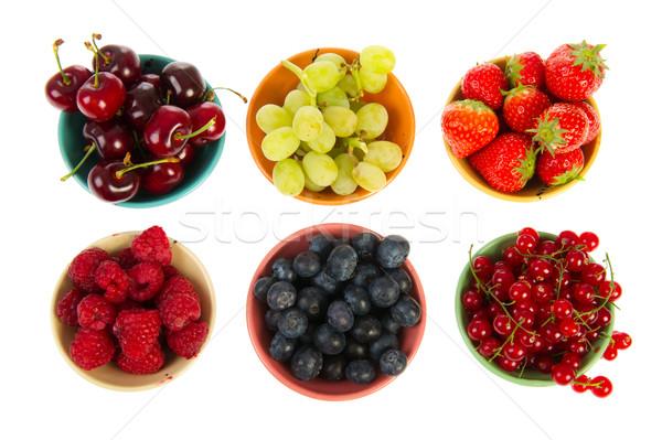 Coloré bols fraîches fruits d'été fond Photo stock © ivonnewierink