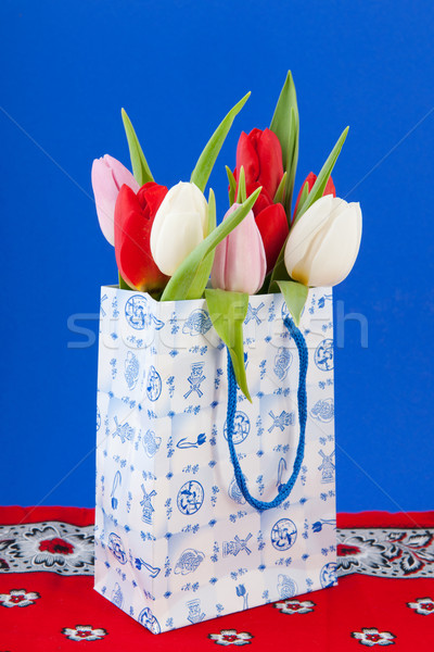 Dutch souvenir bag with tulips Stock photo © ivonnewierink