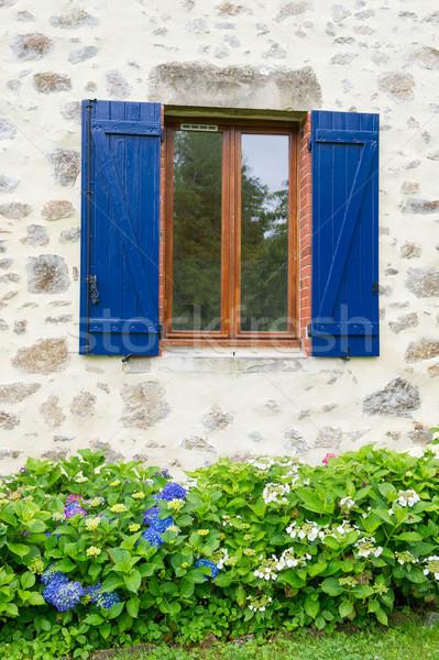 французский окна жалюзи синий Открытый Сток-фото © ivonnewierink