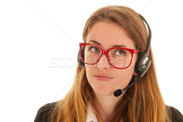 телефон женщину гарнитура изолированный Сток-фото © ivonnewierink