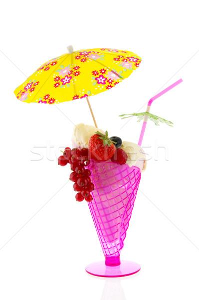 Sorbetto gelato rosa frutta ombrellone fiori Foto d'archivio © ivonnewierink