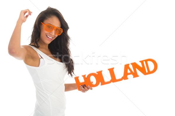 Rajongó éljenez Hollandia afroamerikai nő holland csapat Stock fotó © ivonnewierink