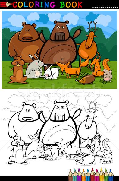 Stockfoto: Bos · wilde · dieren · cartoon · kleurboek · illustratie · grappig
