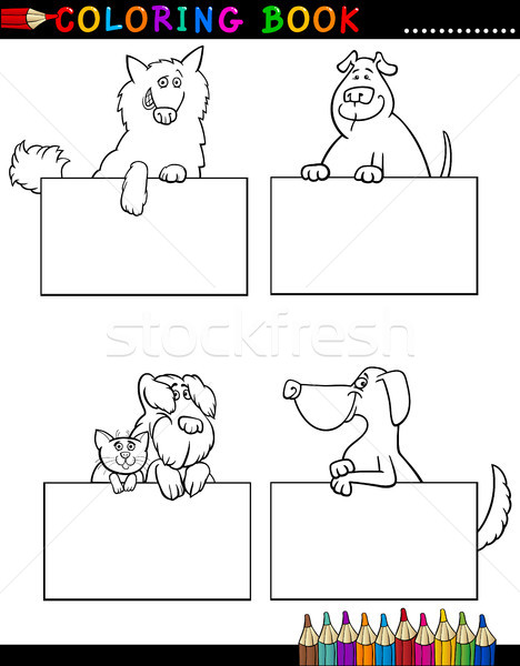 Cartoon Dogs with cards Coloring Page Stock photo © izakowski