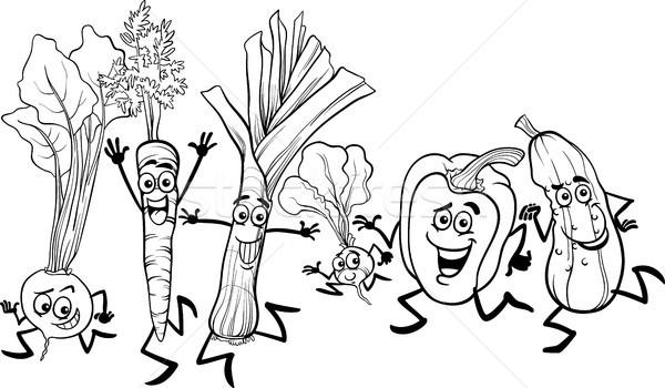 çalışma Sebze Karikatür Siyah Beyaz örnek Mutlu Vektör