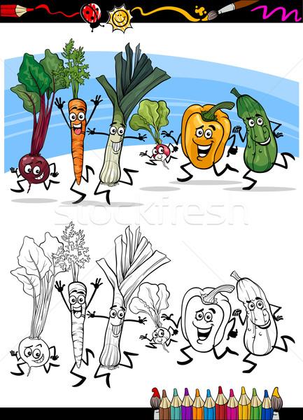 Stockfoto: Cartoon · groenten · kleurboek · pagina · illustratie · lopen