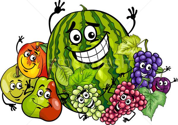 fruits group cartoon illustration Stock photo © izakowski