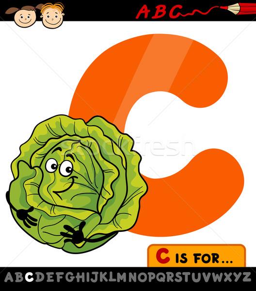 letter c with cabbage cartoon illustration Stock photo © izakowski