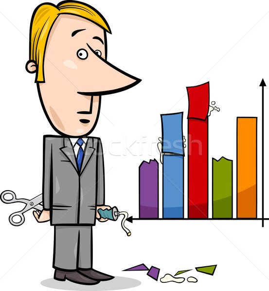 Stock photo: businessman and graph data cartoon