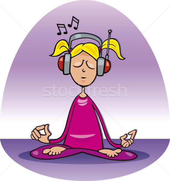 Meditating girl Stock photo © izakowski
