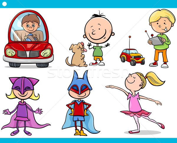 cute little children cartoon set Stock photo © izakowski