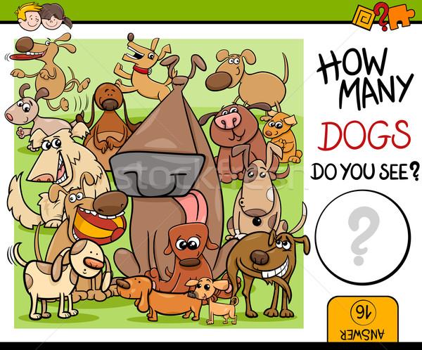 Zadanie psów cartoon ilustracja przedszkole Zdjęcia stock © izakowski