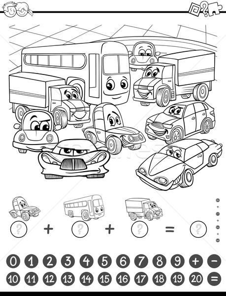 математика деятельность страница черно белые Cartoon иллюстрация Сток-фото © izakowski