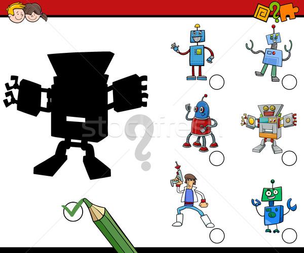 Schaduwen activiteit kinderen cartoon illustratie vinden Stockfoto © izakowski