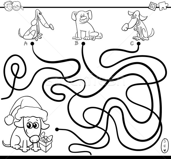 paths maze game with dogs for coloring Stock photo © izakowski