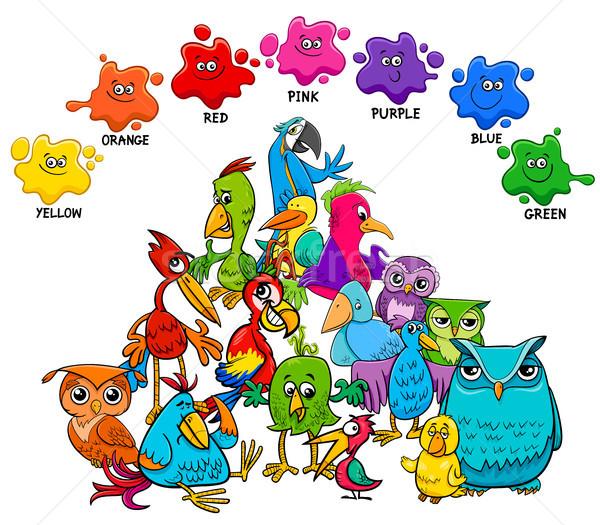 Fundamenteel kleuren onderwijs pagina vogels cartoon Stockfoto © izakowski