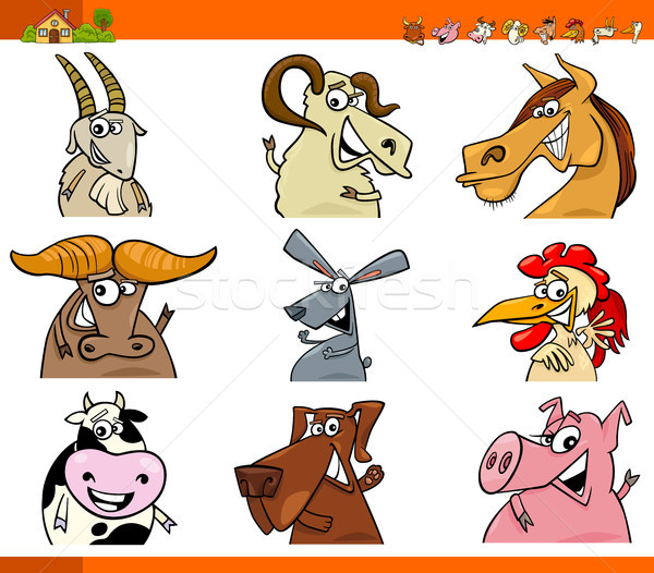 farm animal characters cartoon set Stock photo © izakowski