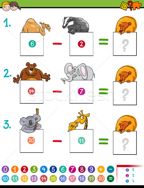 maths subtraction game with animals Stock photo © izakowski