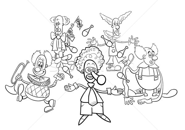 clowns cartoon characters group coloring book Stock photo © izakowski