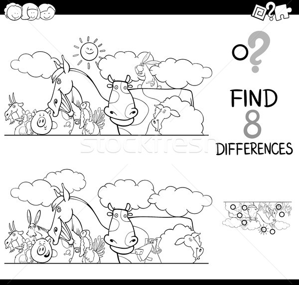 Diferenças animais de fazenda cor livro preto e branco desenho animado Foto stock © izakowski