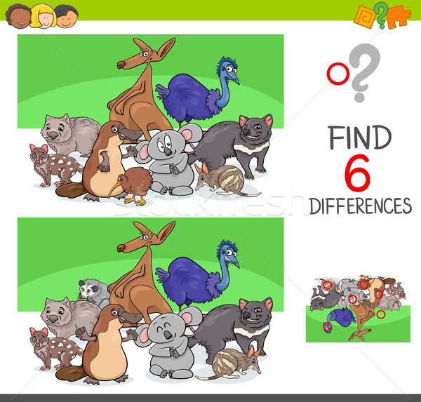 find differences with funny animal characters Stock photo © izakowski