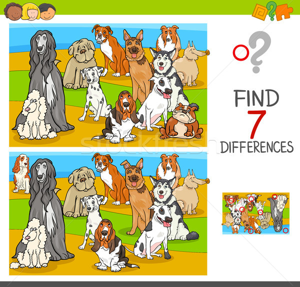 find differences game with dog animal characters Stock photo © izakowski