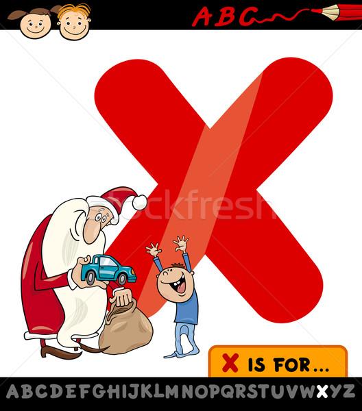 letter x with xmas cartoon illustration Stock photo © izakowski