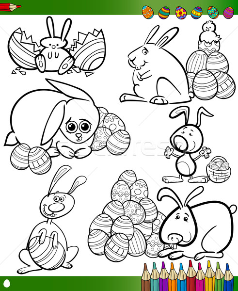 easter cartoons for coloring book Stock photo © izakowski