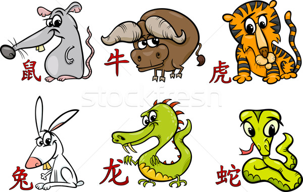 Chinois zodiac horoscope signes cartoon illustration Photo stock © izakowski