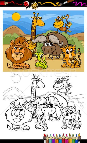 Stockfoto: Cartoon · wilde · dieren · pagina · kleurboek · illustratie · scène