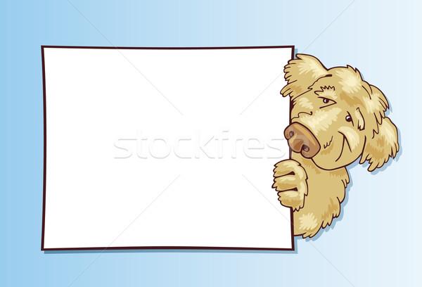 Kócos kutya kártya illusztráció mosoly szemek Stock fotó © izakowski