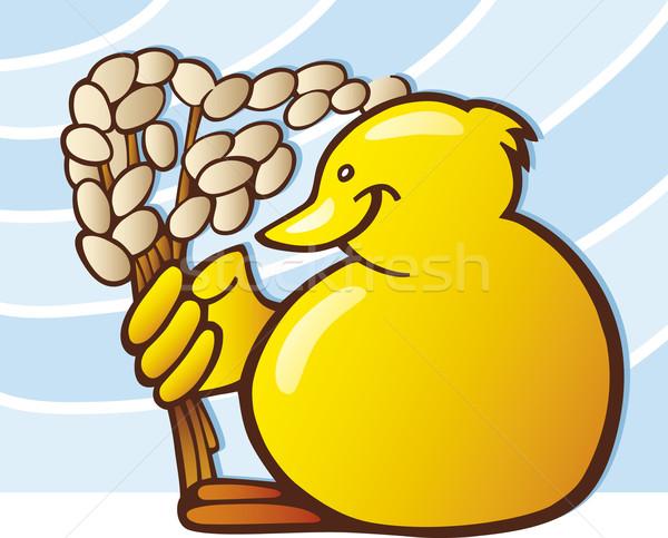 Easter chick with catkin Stock photo © izakowski