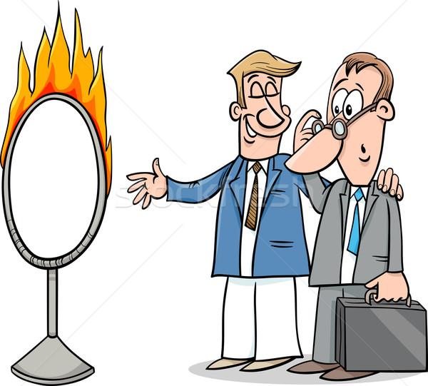 Sautant cartoon humour illustration proverbe Photo stock © izakowski