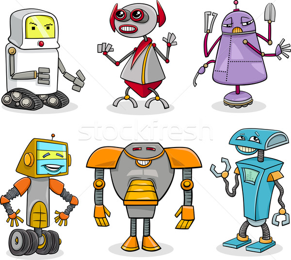 robots cartoon illustration set Stock photo © izakowski