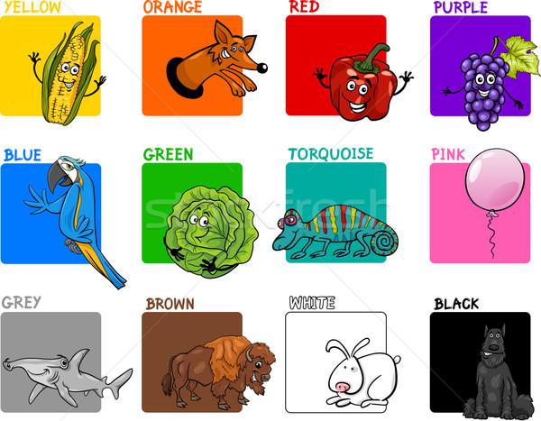 Stockfoto: Hoofd- · kleuren · cartoon · collectie · illustratie · primair