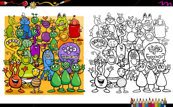 Alienígena livro para colorir desenho animado ilustração atividade Foto stock © izakowski
