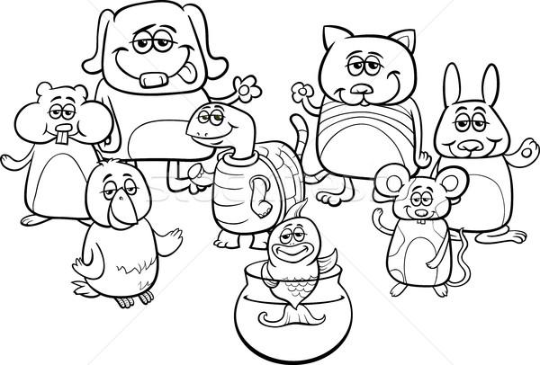 Küçük Evcil Boyama Kitabı Siyah Beyaz Karikatür örnek