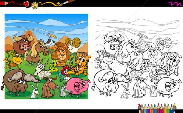 cartoon animals coloring page Stock photo © izakowski