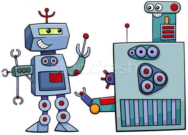 robot characters cartoon illustration Stock photo © izakowski