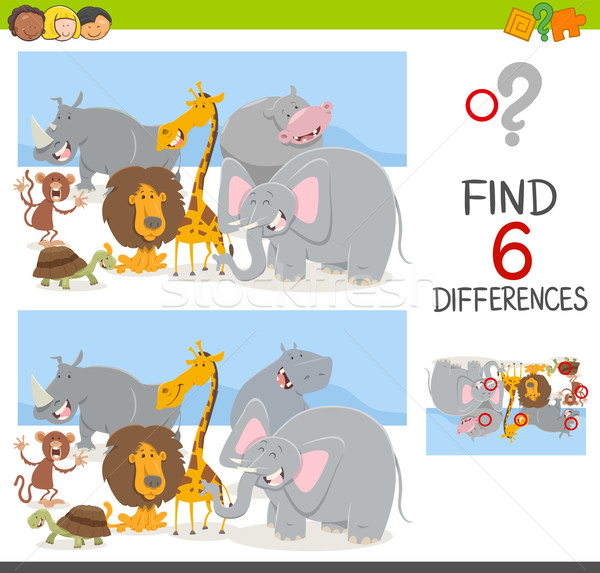 Stock photo: find differences game with animals