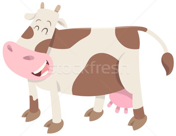 Aranyos tehén haszonállat rajz illusztráció karakter Stock fotó © izakowski