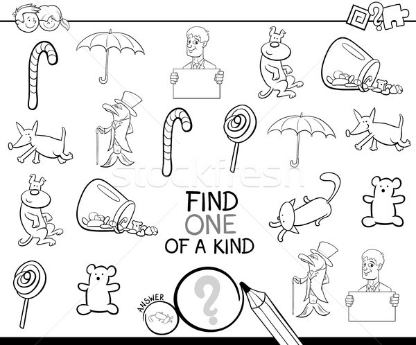 find one picture of a kind coloring book Stock photo © izakowski