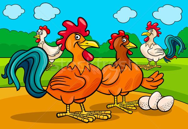 chicken characters group cartoon illustration Stock photo © izakowski