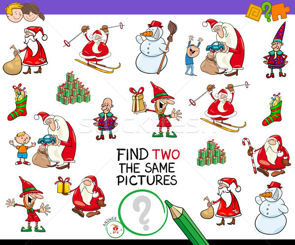 Bulmak iki Noel resimleri oyun karikatür Stok fotoğraf © izakowski