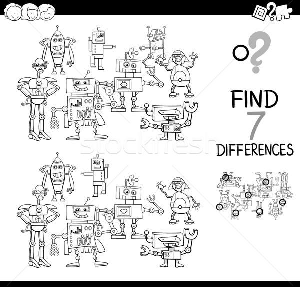 Encontrar diferenças cor livro preto e branco Foto stock © izakowski