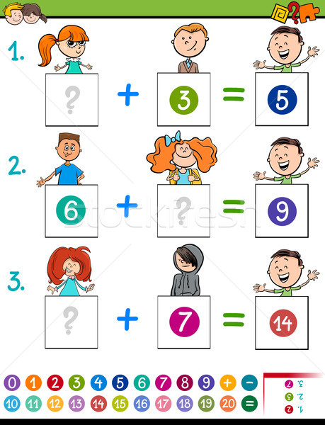 maths addition educational game with children Stock photo © izakowski