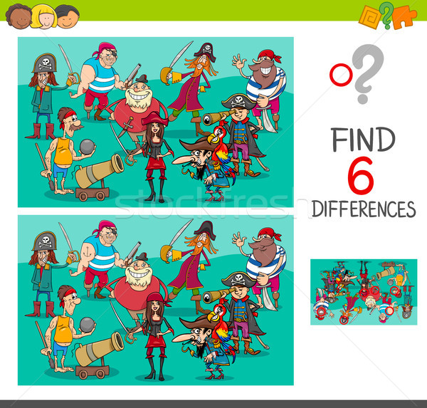 differences game with pirate characters Stock photo © izakowski